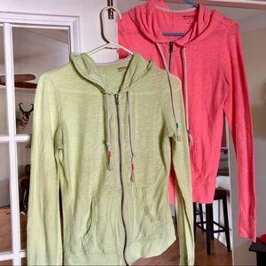 2 Lightweight Hooded Sweatshirts. Zip up Neon